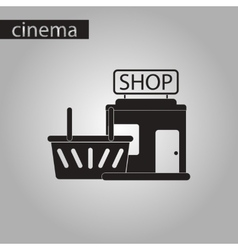 Black and white style icon shop basket vector