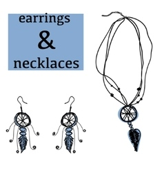 Boho accessories bijouterie necklace earrings vector