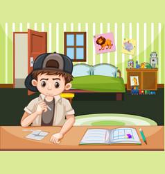 Boy doing drugs in bedroom vector