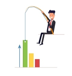 Businessman or manager pulling graph to going up vector