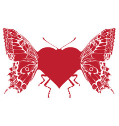 butterfly in form a heart with wings vector image