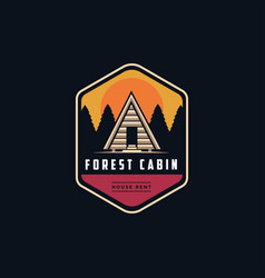 cabin house in forest logo emblem vector image