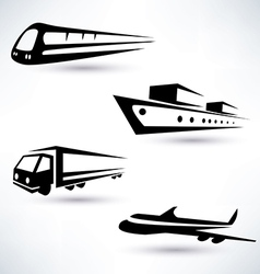Cargo transportation icons set logistics concept vector