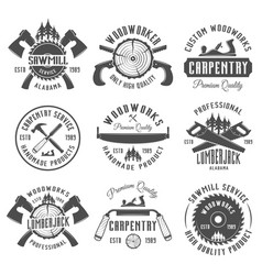 Carpentry and woodworkers vintage emblems vector