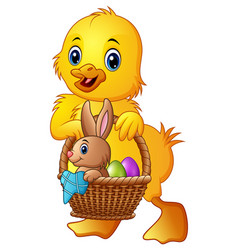 cartoon baby duck carrying little rabbit and eggs vector image