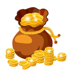cartoon big old bag with gold coins cash prize vector image
