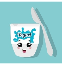 cartoon cup yogurt and spoon design isolated vector image