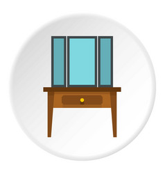 chest of drawers with mirror icon circle vector image
