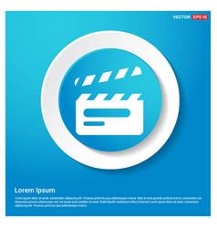 clapper board icon abstract blue web sticker vector image