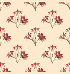 classic floral pattern lilies design vector image