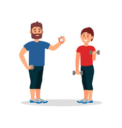 coach training woman in gym trainer holding vector image