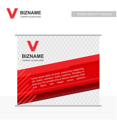 Company ad banner design and card with red theme vector