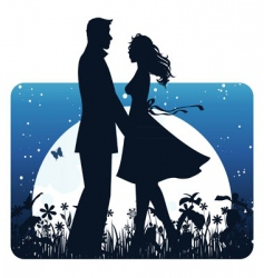 couple banner night vector image