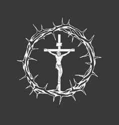 crucifixion jesus christ inside crown vector image