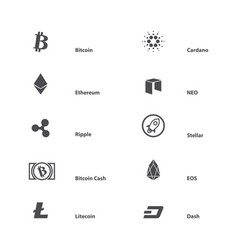 cryptocurrency with name vector image