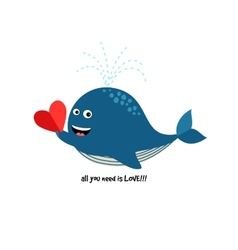 cute blue whale with heart vector image