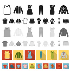 different kinds of clothes flat icons in set vector image