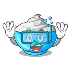 Diving sour cream in a wooden bowl cartoon vector