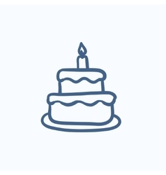 Easter cake with candle sketch icon vector image