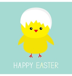 Easter chiken Egg shell on head Baby background vector