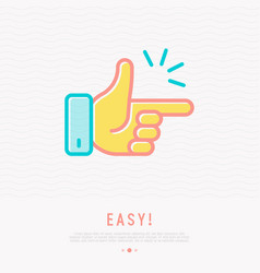 Easy concept finger clicking thin line icon vector