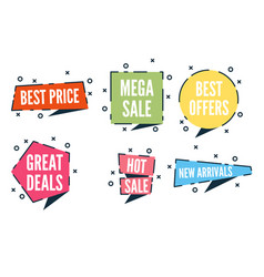 Flat colorful shaped banners price tags stickers vector