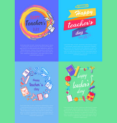 Four pictures teachers day vector
