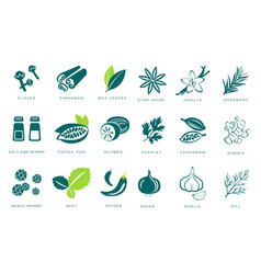 Fragrant spices linear icons set seasonings with vector