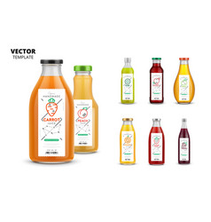 fresh juice packaging mockup set vector image