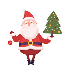 funny santa claus holding fir tree and bauble vector image