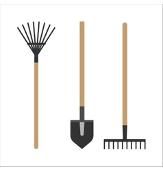 Garden rake equipment flat set vector image