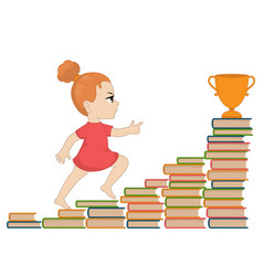 Girl going up the stairs of books vector