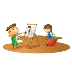 girls doing painting vector image