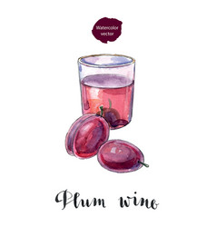 Glass of plum wine vector
