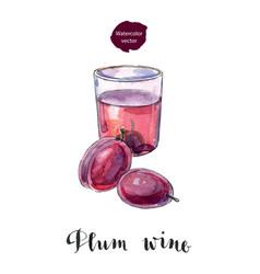 Glass plum wine vector