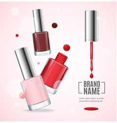 Gloss red colorful nail lacquer ads 3d vector