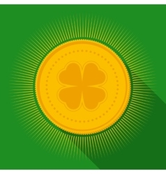 Gold Coin with Clover Symbol vector image