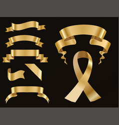 golden ribbon tape banner flag bow classic glossy vector image
