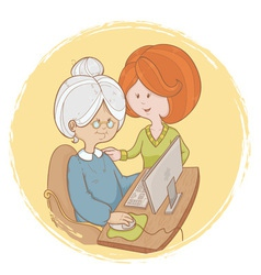 Granny learns the computer use with help of girl vector image