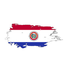 grunge brush stroke with paraguay national flag vector image
