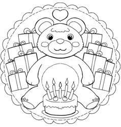 Happy birthday teddy bear mandala vector