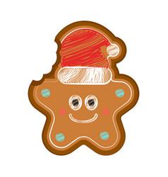Happy bitten christmas star gingerbread vector