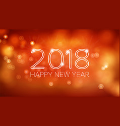 happy new year 2018 background orange vector image