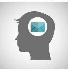 Head thinking design vector