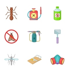 Insect destruction icons set cartoon style vector