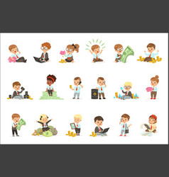 Kids in financial business set of cute boys and vector