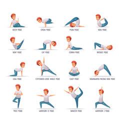 Kids yoga icons set vector