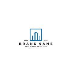 Letter i and building logo design vector