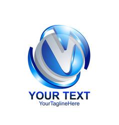 letter v logo design template colored silver blue vector image