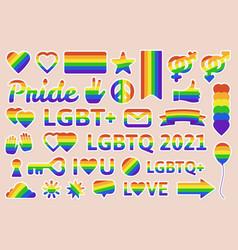 lgbtq pride elements pride lgbt community rainbow vector image